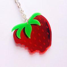 Strawberry Necklace  Sugar Jones  Perspex by SugarJonesUK on Etsy