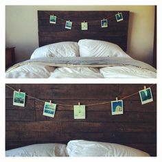 Reclaimed barn wood headboard + polaroids, clothespins, and twine #bedroom #rustic #shabbychic