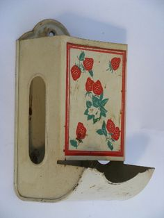 Photo of red strawberry match safe, vintage wall mount box for kitchen matches box  #1