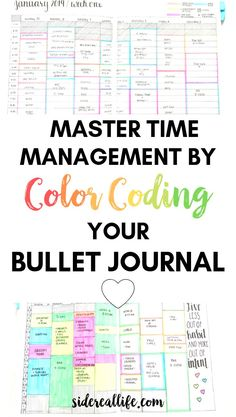 How to master time management by color coding your activities and tasks in your bullet journal spreads.  Reduce your procrastination, utilize your time, and stay motivated through time blocking and creative planning!