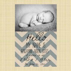 I'm not having any more, but this is precious! Chevron Baby Boy Announcement DIY. $10.00, via Etsy.