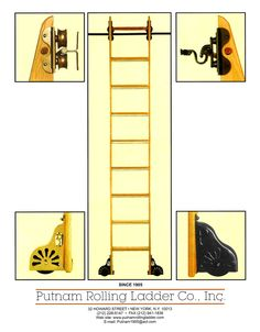 "I would definitely need one of these for my wall library! And it looks like this company knows what it's doing. Putnam Rolling Ladder - the famous ""Classic No. 1"" rolling library ladder hasn't changed since 1905."