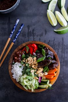 "Vietnamese Shaken Beef Bowl with Hoisin Sauce. Vietnamese ""Shaken"" Beef Bowl with Hoisin Sauce. Asian Recipes, Beef Recipes, Cooking Recipes, Healthy Recipes, Ethnic Recipes, Chicken Recipes, Shaken Beef, Half Baked Harvest, Hoisin Sauce"