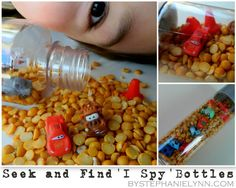 I Spy bottles and bags are great early learning tools offering open ended quiet learning time with your little one.