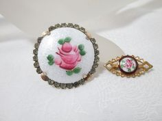 Lot of 2 Vintage Guilloche Enamel Rose Pins Brooches