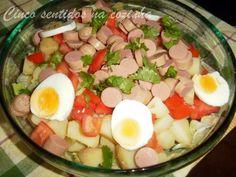 Cinco sentidos na cozinha: Salada fria  de batata e salsichas com molho de mo...