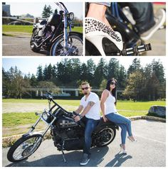 """Hot Daaamn!!"" – Sexy Harley Davidson Engagement Photo session with Killer Heels!"