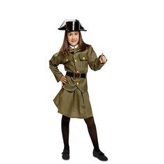 El disfraz de guardia civil niña, incluye falda, chaqueta, pecherin con corbata,cinturon y tricornio de plastico en DisfracesMimo.com