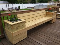 Deck bench with planter boxes. Planter boxes remove to expose ice cooler beneath.