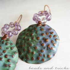 Il riccio. Copper and amethyst earrings. Patina | Handmade by Beads and Tricks