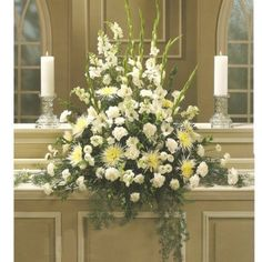 WEDDING CENTERPIECE FOR CHURCH ALTAR   More altar decorations are found on this website. For another step-by ...