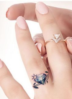Gorgeous Diamond Wedding Ring Tattoo.