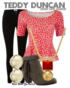 """""""Good Luck Charlie"""" by wearwhatyouwatch ❤ liked on Polyvore featuring Paige Denim, People Tree, Sam Edelman, Henri Bendel, television, wearwhatyouwatch and goodluckcharlie"""