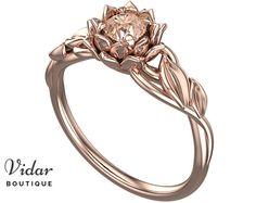 Flower Engagement Ring, Unique Engagement Ring, Lotus Flower Ring, Leaf Ring, Morganite Ring, floral ring ,swirl, Rose gold Ring, Lotus Ring