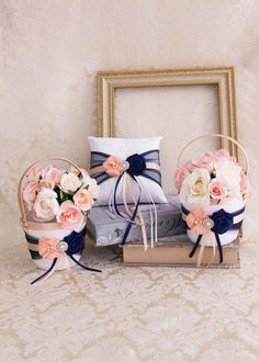Blush and Navy Blue Flower Girl Basket and Ring by BridalQueen