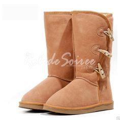 Bottes Fourrées-BGG neige bottes mode sexy hautes bottes en cuir marron élégant