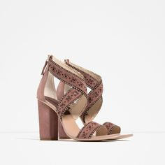 Zara Scalloped High Heel Sandals (850 SEK) ❤ liked on Polyvore featuring shoes, sandals, heeled sandals, real leather shoes, leather heel sandals, genuine leather shoes and leather sandals