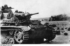 JUN 13 1942 'Black Saturday' for the British Eighth Army Nordafrika, Panzer III  German panzer III tank with burning British lorry.