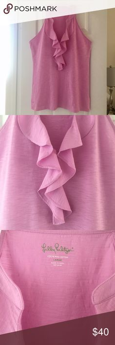 Lilly Pulitzer Shay Ruffle Top EUC Shay Ruffle top in a light purple/lilac color. Matches perfectly with Elephant Ears Shorts also in my closet. Very flattering too. Smoke free home. Bundle and save!🍍 Lilly Pulitzer Tops Tank Tops
