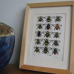 Bumble Bees Lino Print