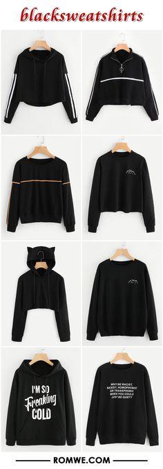 fall black sweatshirts - romwe.com