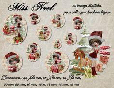"""80 images collage digital pour cabochons """"miss Noël"""" envoi par mail : Loisirs créatifs, scrapbooking par miss-coopecoll"""