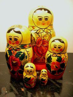 vintage Russian stacking matroyshka dolls - set of 5 - marked ussr on Etsy, $24.00