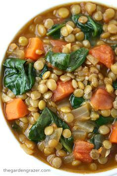 The Garden Grazer: Lentil Spinach Soup: Made this for dinner tonight, really good, needed quite a bit of salt and threw some jack cheese on the top (KN)