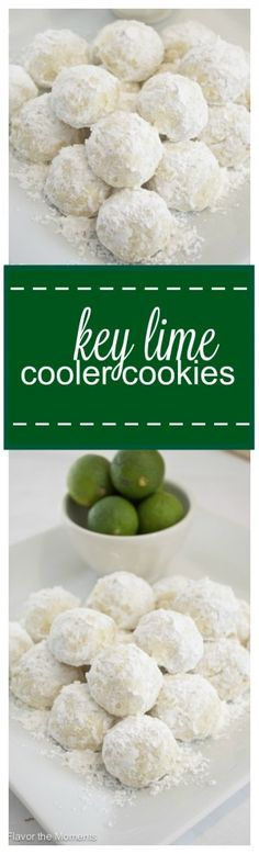 Key Lime Cooler Cookies are soft, buttery, and bursting with fresh key lime flavor! Flavor the Moments cookie recipes Brownie Cookies, Cookie Desserts, Yummy Cookies, Cupcake Cookies, Cookie Recipes, Dessert Recipes, Key Lime Desserts, Buttery Cookies, Cookie Table