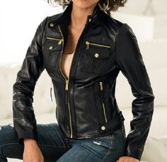 Give your outerwear collection a boost with this sensuous leather jacket with gold-tone single front zip, functional zip pockets and flap pockets. New Years Sales, Jackets For Women, Women's Jackets, Lambskin Leather, Jacket Style, Classy Outfits, Blazer Jacket, Leather Jackets, Mens Fashion