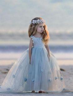 Blue Tulle A-Line Flower Girl Dresses, Backless Popular Little Girl Dresses,
