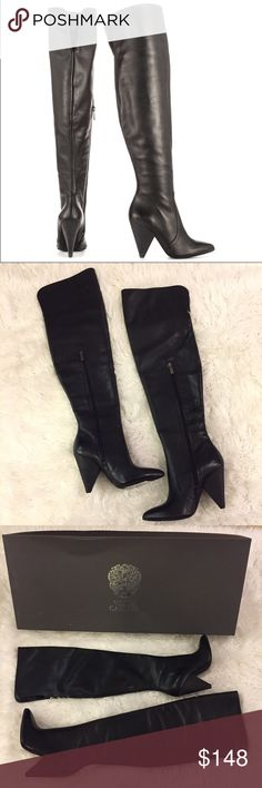 NWT & box Vince Camuto Hollie leather boots These boots are gorgeous and in excellent condition! These boots are new with tags and box. Zips up half way. Soft calf leather. Triangle heel. 4 inch heel. 25 inch boot height. Top can be folded over as a cuff. Non-smoking pet free home. Vince Camuto Shoes Over the Knee Boots