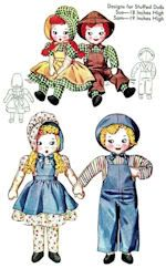 """1940's vintage cloth doll pattern to make two stuffed dolls; Sunbonnet Sue & Sam including their wardrobe. Sue is about 18"""" tall and her outfit includes a bonnet, skirt, and apron. Sam is about 19"""" tall and his outfit includes overalls, hat, and a little bowtie.  See website for purchase information.  #ClothDollPatterns #SewYourOwnDolly"""
