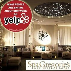 "* WHAT PEOPLE ARE SAYING ABOUT OUR WORK on YELP*  Spa Gregories ( Rancho Santa Margarita, CA ):  "" Decor: very classy, modern and calming  The relaxation room was gorgeous- perfect ambient lighting, comfy lounge sofas/chairs, with nice little decorative touches throughout the room.  The treatment rooms were also very calming and nicely decorated. I liked that they had a nice decorative blanket over the usual white linens on the massage bed. It added such a luxurious feel to the experience. ""…"