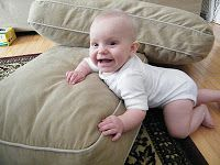 Make an obstacle course for your infant or toddler with couch pillows, furniture, and blankets. Let them crawl over, under, and through these to learn important body awareness skills.