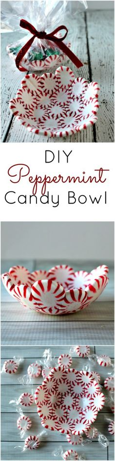 DIY Peppermint Candy Bowl – The perfect (and easiest) DIY Christmas Gift. Fun way to add color to your Christmas party. I created these oh so adorable DIY Peppermint Candy Bowls made from, you guessed it, peppermint candy! Easy Diy Christmas Gifts, Noel Christmas, Christmas Goodies, Homemade Christmas, Christmas Projects, Holiday Crafts, Holiday Fun, Christmas Decorations, Gift Crafts