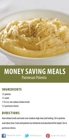 Parmesan Polenta Recipe from the Purdue Rec Sports Demonstration Kitchen (Money Saving Meals- delicious foods on any budget!)