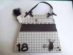 Personalised Handmade Black/White Gingham 18th/21st Handbag Birthday Card Daughter  at Creative Stores