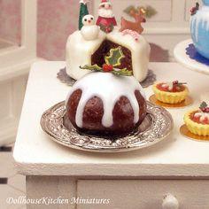 Christmas Pudding Dollhouse Miniature by DollhouseKitchen