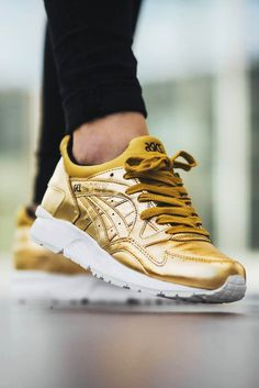 ASICS Gel Lyte 5s in #metallic #gold uppers and a white mid. Available now!