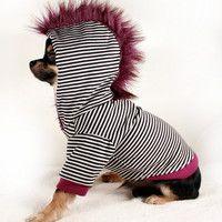 Dog Clothes LARGE purple Mohawk Black stripes by PetitDogApparel. Chihuahua Clothes, Pet Clothes, Dog Clothing, Dog Clothes Patterns, Pet Fashion, Dog Hoodie, Dog Shirt, Dog Jacket, Dog Wear