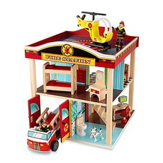 Children will love pretending they're real-life heroes when they play with this adorable wooden fire station. It comes complete with 10 pieces of furniture, 2 bendable firefighters, and 2 fun vehicles -- a helicopter and a fire truck. Toddler Boy Gifts, Toddler Toys, Toddler Crafts, Garages, Nerf Toys, Best Kids Toys, Kids Wood, Woodworking Projects Diy, Games