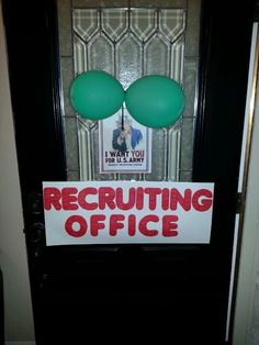 "Haha, it would be funny to have a sign on the main door. Maybe ""Marriage Bootcamp"" Recruiting Office Army Party Decorations, Party Themes, Party Ideas, Army Birthday Parties, Army's Birthday, Self Esteem Activities, Camo Party, Kids Army, Bullentin Boards"