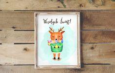 Plakat świąteczny za darmo 30x40 - jelonek watercolor  Free Christmas poster for kids
