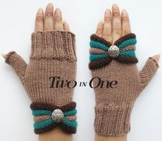 Fingerless gloves Two in One Beige Fingerless Hand Warmers Light Brown Wrist Warmers Knitted Striped Gloves Gift for Woman New Design Gilet Crochet, Crochet Mittens, Crochet Gloves, Crochet Scarves, Wrist Warmers, Hand Warmers, Fingerless Gloves Knitted, Knitted Hats, Striped Gloves