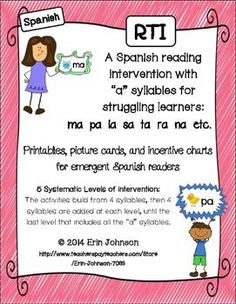 """RTI Spanish Reading Intervention A Syllables - Intervención. 5 levels of intervention to help your struggling readers read """"a"""" syllables and words! $"""