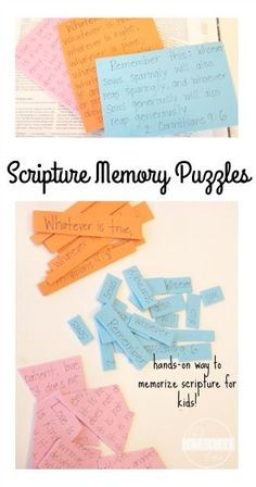Scripture Memory Puzzles - What fun, clever ideas for helping kids learn Bible verses. Perfect for Sunday School lessons and homeschool