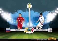 Announce for Russia vs. South Korea match in this Brazil 2014 FIFA World Cup, featuring players of each team in their uniform, with their flags, there is a soccer field as background. Use it in any promo for this match. Under Commons 3.0. Attribution License.