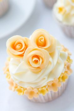 Triple Rose Cupcake... cute for bridals showers or even Wedding Cupcake Towers