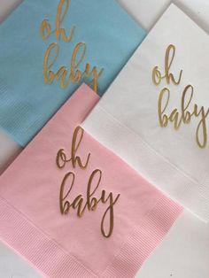 50 Light Pink Light Blue or White w/ Metallic Gold Foil Boho Baby Shower, Baby Shower Invites For Girl, Girl Shower, Beverage Napkins, Cocktail Napkins, Gold Foil, Metallic Gold, Pink And Gold, Blue And White